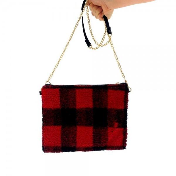 "Sherpa Fleece Buffalo Check Crossbody Clutch Bag.  - Zipper Closure - Open Lined Inside  - 2 Inside Open Pockets - Detachable Gold Chain Strap 29""  - Detachable Wristlet 6"" - Approximately 10"" T x 8"" W - 100% Polyester"