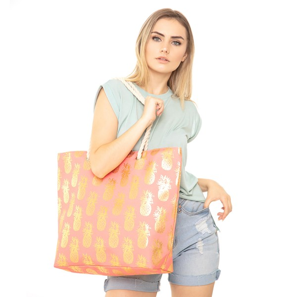 """Metallic Pineapple Print Canvas Tote Bag.  - Button Closure - Lined Inside - One Inside Open Pocket - 12"""" Rope Handles - Approximately 20"""" x 14""""  - 60% Cotton / Polyester"""