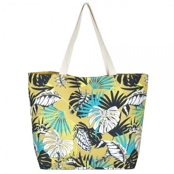"Palm Leaf Print Canvas Tote Bag.  - Button Closure - Lined Inside - One Inside Open Pocket - 11"" Handles - Approximately 20"" x 14""  - 60% Cotton / 40% Polyester"
