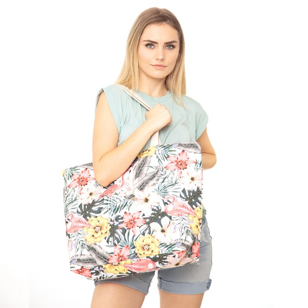 "Tropical Flamingo Print Canvas Tote Bag.  - Button Closure - Lined Inside - One Inside Open Pocket - 11"" Handles - Approximately 20"" x 14""  - 60% Cotton / 40% Polyester"