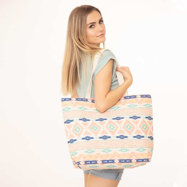 "Animal Print Aztec Print Canvas Tote Bag.  - Button Closure - Lined Inside - One Inside Open Pocket - 11"" Handles - Approximately 10"" x 7""  - 60% Cotton / 40% Polyester"