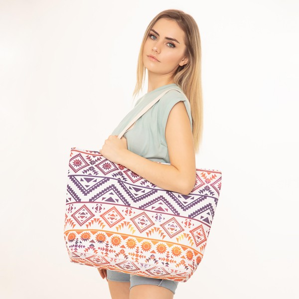"Aztec Print Canvas Tote Bag.  - Button Closure - Lined Inside - One Inside Open Pocket - 11"" Handles - Approximately 20"" x 14""  - 60% Cotton / 40% Polyester"