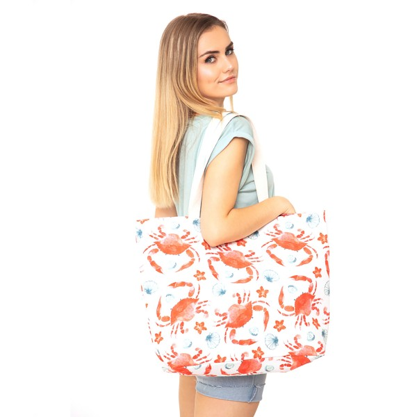 "Crab Print Canvas Tote Bag.  - Button Closure - Lined Inside - One Inside Open Pocket - 11"" Handles - Approximately 20"" x 14""  - 60% Cotton / 40% Polyester"