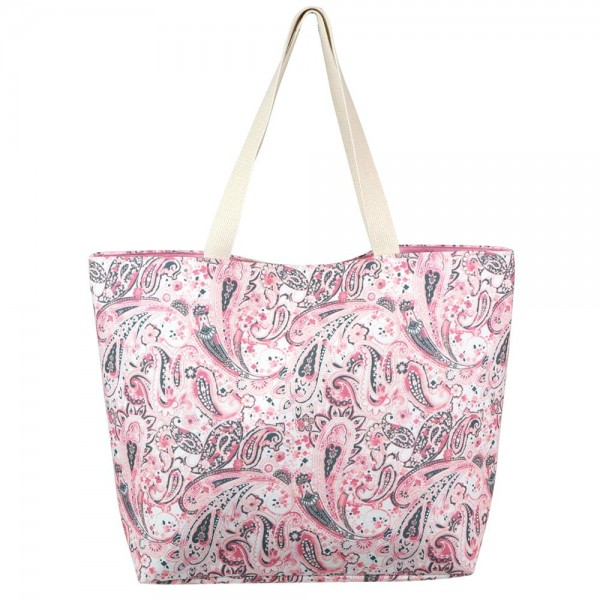 "Paisley Print Tote Bag.  - Button Closure - Lined Inside - One Inside Open Pocket - 11"" Handles - Approximately 20"" x 14""  - 60% Cotton / 40% Polyester"