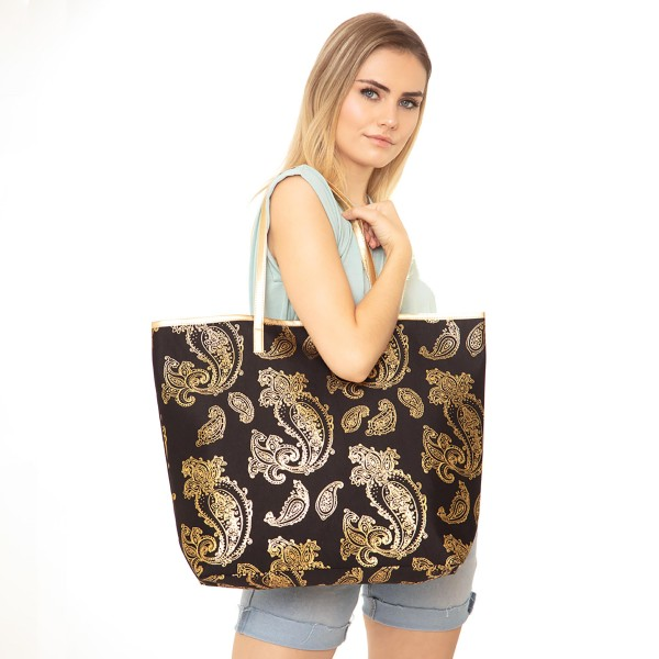 "Metallic Paisley Print Tote Bag.  - Button Closure - Lined Inside - One Inside Open Pocket - 12"" Handles - Approximately 20"" x 14""  - 60% Cotton / 40% Polyester"