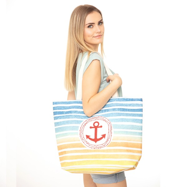 "Multicolor Striped Anchor Print Canvas Tote Bag.  - Button Closure - Lined Inside - One Inside Open Pocket - 11"" Handles - Approximately 20"" x 14""  - 60% Cotton / 40% Polyester"