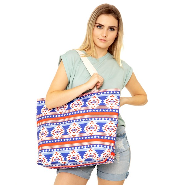 "Americana Aztec Print Canvas Tote Bag.  - Button Closure - Lined Inside - One Inside Open Pocket - 11"" Handles - Approximately 20"" x 14""  - 60% Cotton / 40% Polyester"