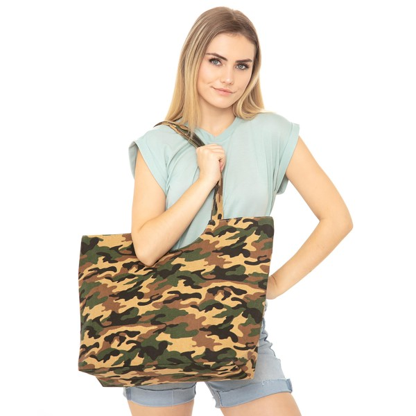 "Camouflage Canvas Tote Bag.  - Top Zipper Closure - Open Lined Inside - 1 Inside Open Pocket - 12"" Handles - Approximately 19"" x 14""  - 65% Polyester / 35% Cotton"