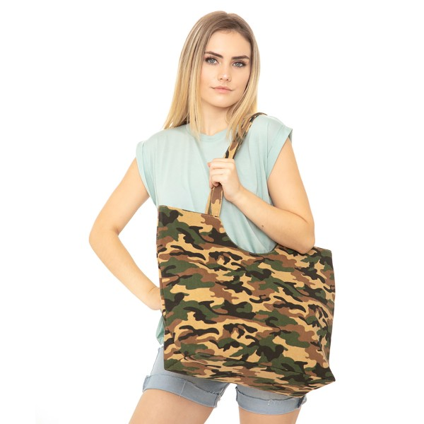 """Camouflage Canvas Tote Bag.  - Top Zipper Closure - Open Lined Inside - 1 Inside Open Pocket - 12"""" Handles - Approximately 19"""" x 14""""  - 65% Polyester / 35% Cotton"""