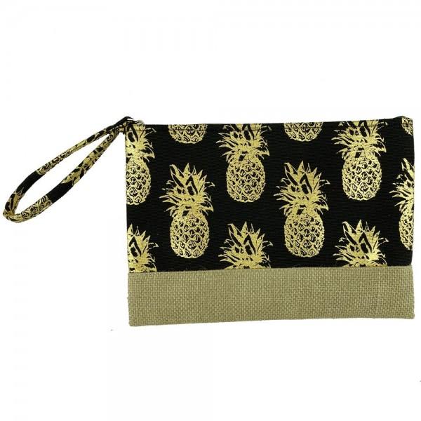 "Metallic Pineapple Print Canvas Travel Pouch Wristlet.  - Zipper Closure - Lined Inside - One Inside Open Pocket - 6"" Wristlet - Approximately 10"" x 7""  - 55% Cotton / 35% Polyester / 10% Jute"