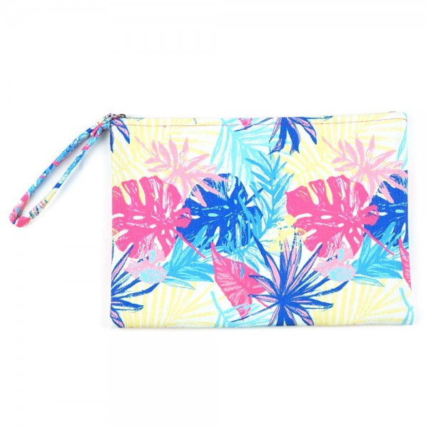 "Multicolor Palm Leaf Print Canvas Travel Pouch Wristlet.  - Zipper Closure - Lined Inside - One Inside Open Pocket - 6"" Wristlet - Approximately 10"" x 7""  - 60% Cotton / 40% Polyester"
