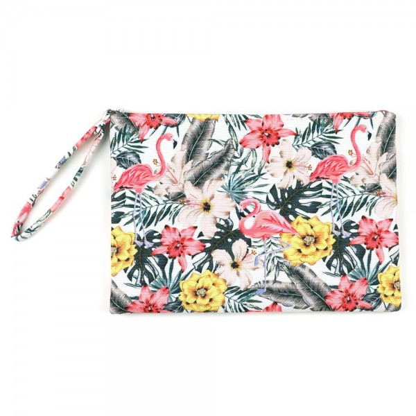 "Tropical Flamingo Print Travel Pouch Wristlet.  - Zipper Closure - Lined Inside - One Inside Open Pocket - 6"" Wristlet - Approximately 10"" x 7""  - 60% Cotton / 40% Polyester"