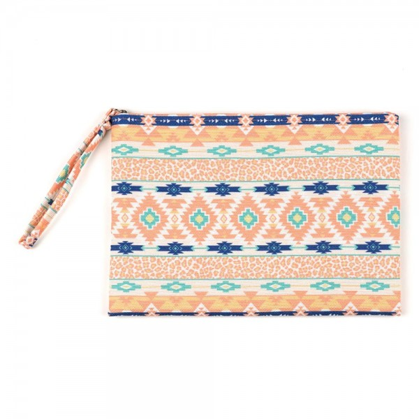 "Animal Print Aztec Print Canvas Travel Pouch Wristlet.  - Zipper Closure - Lined Inside - One Inside Open Pocket - 6"" Wristlet - Approximately 10"" x 7""  - 60% Cotton / 40% Polyester"
