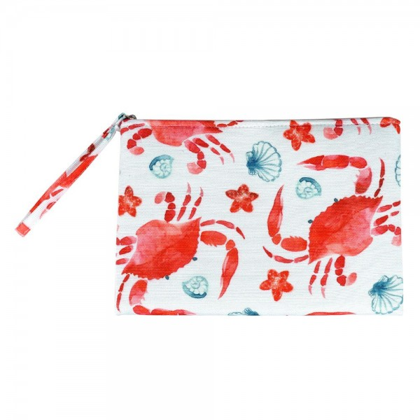 "Crab Print Canvas Travel Pouch Wristlet.  - Zipper Closure - Lined Inside - One Inside Open Pocket - 6"" Wristlet - Approximately 10"" x 7""  - 60% Cotton / 40% Polyester"