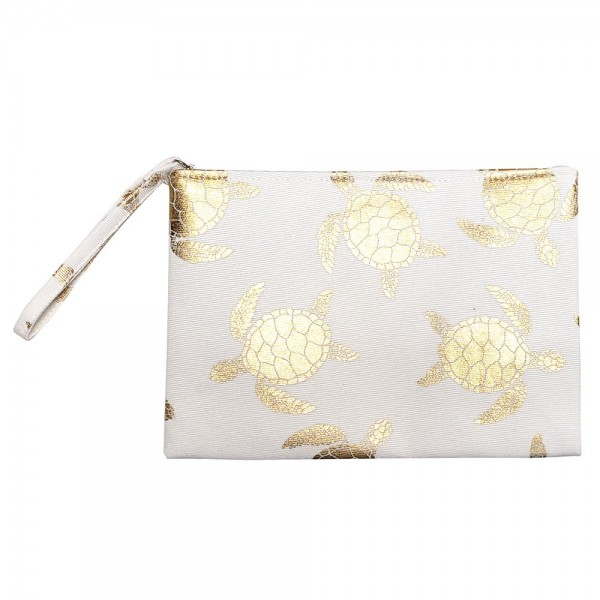 "Metallic Sea-turtle Print Canvas Travel Pouch Wristlet.  - Zipper Closure - Lined Inside - One Inside Open Pocket - 6"" Wristlet - Approximately 10"" x 7""  - 60% Cotton / 40% Polyester"