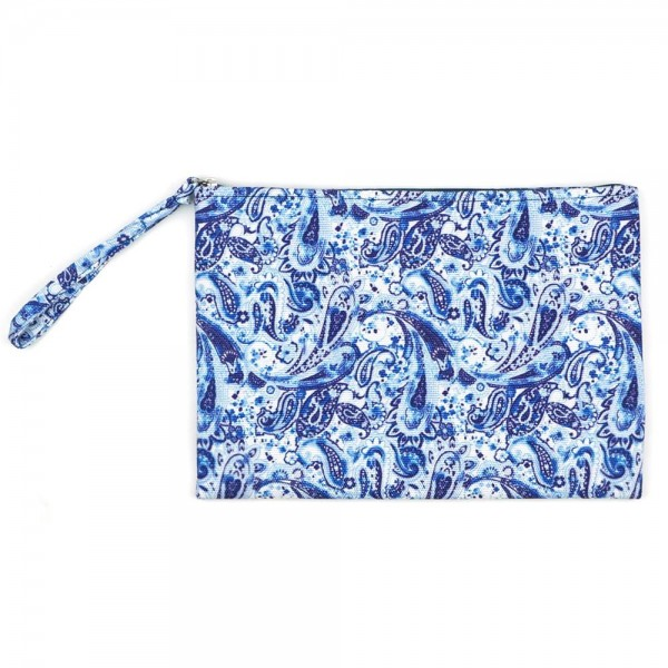 "Paisley Print Canvas Travel Pouch Wristlet.  - Zipper Closure - Lined Inside - One Inside Open Pocket - 6"" Wristlet - Approximately 10"" x 7""  - 60% Cotton / 40% Polyester"