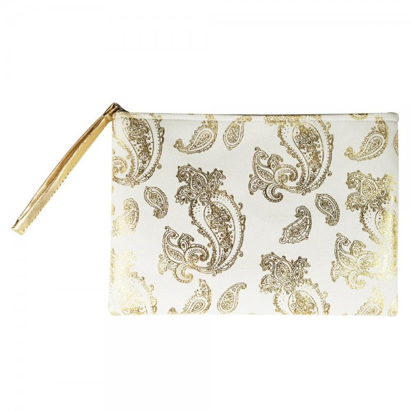 "Metallic Paisley Print Canvas Travel Pouch Wristlet.  - Zipper Closure - Lined Inside - One Inside Open Pocket - 6"" Wristlet - Approximately 10"" x 7""  - 60% Cotton / 40% Polyester"