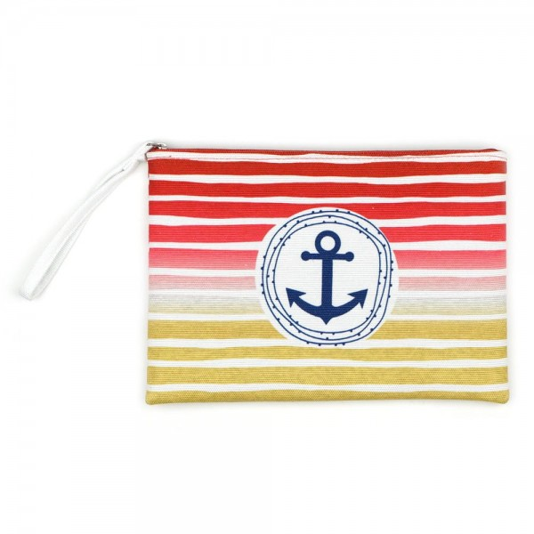 """Multicolor Striped Anchor Print Canvas Travel Pouch Wristlet.  - Zipper Closure - Lined Inside - One Inside Open Pocket - 6"""" Wristlet - Approximately 10"""" x 7""""  - 60% Cotton / 40% Polyester"""