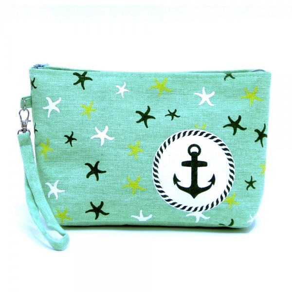 "Canvas Anchor Print Travel Pouch Wristlet.  - Zipper Closure - Open Lined Inside  - NO Pockets - 6' Detachable Wristlet - Approximately 10"" x 6"""