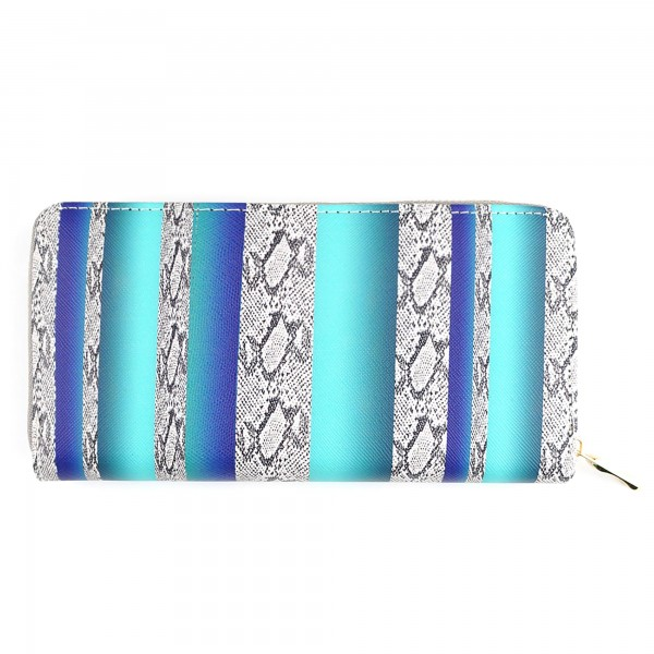 "Faux Leather Blue Serape Snakeskin Print Long Wallet.  - Zip around Closure - Full Bill, Card & Coin Compartments  - Approximately 7.5"" x 4"""