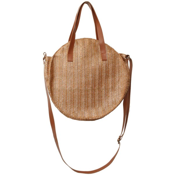 Wholesale round Raffia Paper Handbag Zipper Closure Open Lined Inside Inside Zip