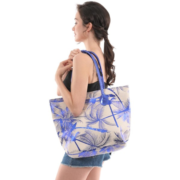 """Tropical Metallic Canvas Tote Bag.  - Zipper Closure - Open Lined Inside - 1 Inside Open Pocket - 12"""" Metallic Faux Leather Handles - Approximately 19"""" x 13"""""""