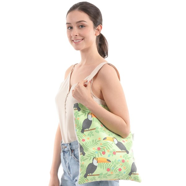 """Toco Toucan Print Canvas Tote Bag.  - Open Bag - NO Pockets - 10"""" Handles - Approximately 16"""" x 13"""""""
