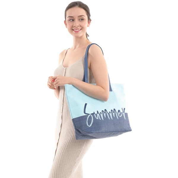 """Two Tone Summer Time Wicker Tote Bag.  - Zipper Closure - Open Lined Inside - 1 Inside Open Pocket - 12"""" Faux Leather Handles - Approximately 20"""" x 14"""""""