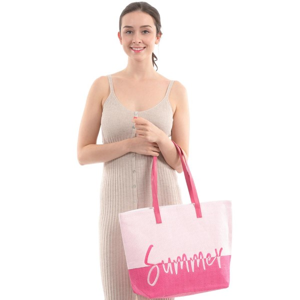 "Two Tone Summer Time Wicker Tote Bag.  - Zipper Closure - Open Lined Inside - 1 Inside Open Pocket - 12"" Faux Leather Handles - Approximately 20"" x 14"""