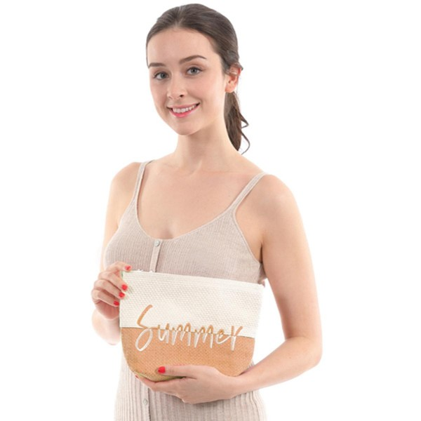 "Two Tone Raffia Paper Summer Travel Pouch.  - Zipper Closure - Open Lined Inside - NO Pockets  - Approximately 10.5"" x 7"""