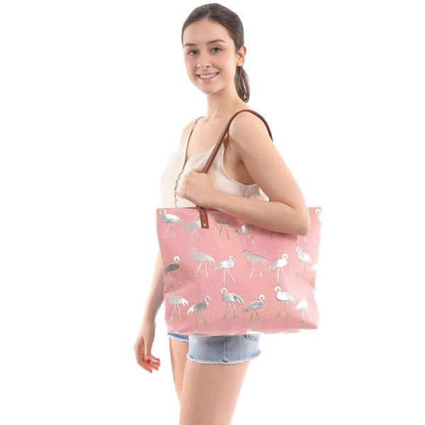 "Flamingo Print Canvas Tote Bag.  - Zipper Closure - Open Lined Inside - 1 Inside Zipper Pocket - 12"" Faux Leather Handles - Approximately 19"" x 13"""