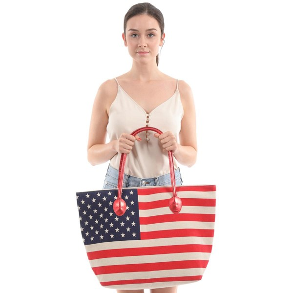 """USA Flag Canvas Tote Bag.  - Zipper Closure - Open Lined Inside  - 1 Inside Open Pocket - 12"""" Metallic Faux Leather Handles - Approximately 19"""" x 14"""""""