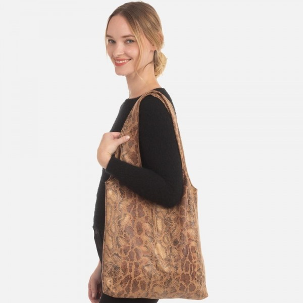 "Python Print Sack Tote Bag.  - Magnetic Button Closure - Open Lined Inside - 1 Inside Open Pocket - Soft Material - 12"" Handles - Approximately 15"" x 14""  - 100% Polyester"