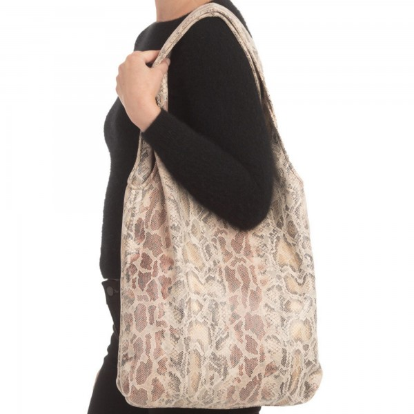 """Snakeskin Print Sack Tote Bag.  - Magnetic Button Closure - Open Lined Inside - 1 Inside Open Pocket - Soft Material - 12"""" Handles - Approximately 15"""" x 14""""  - 100% Polyester"""