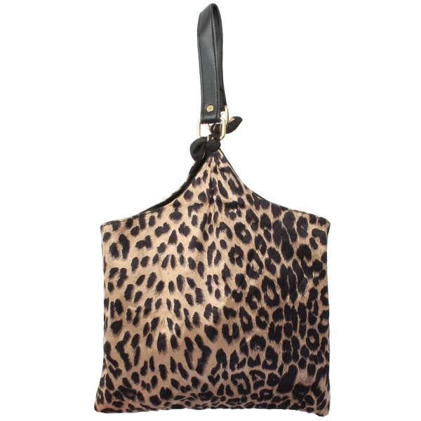 "Leopard Print Sack Handbag.  - Snap Button Closure - 6"" Faux Leather Handle - Open Lined Inside  - NO Pockets - Approximately 11.5"" x 11"""