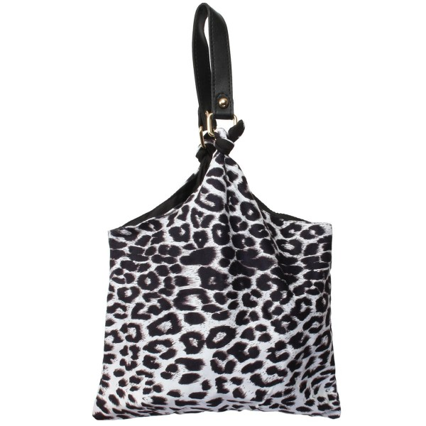 """Leopard Print Sack Handbag.  - Snap Button Closure - 6"""" Faux Leather Handle - Open Lined Inside  - NO Pockets - Approximately 11.5"""" x 11"""""""
