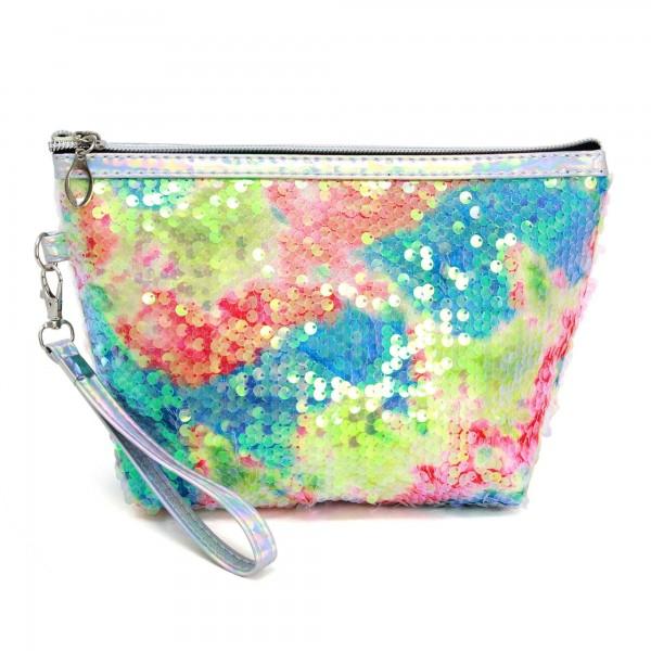 """Sequin Tie-Dye Travel Bag Featuring Detachable Wristlet.  - Zipper Closure - Open Lined Inside  - NO Pockets - 6"""" Detachable Wristlet - Approximately 9"""" x 5.5"""" - 100% PVC"""