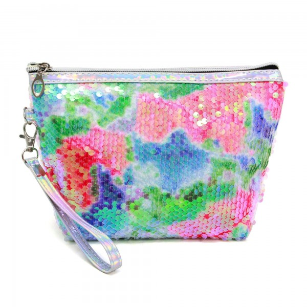 "Sequin Tie-Dye Travel Bag Featuring Detachable Wristlet.  - Zipper Closure - Open Lined Inside  - NO Pockets - 6"" Detachable Wristlet - Approximately 9"" x 5.5"" - 100% PVC"