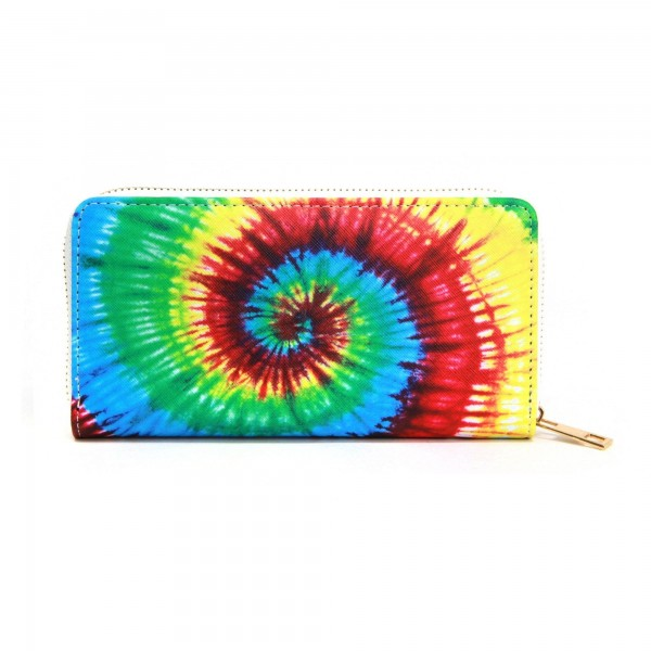 "Faux Leather Tie-Dye Long Wallet.  - Zip around Closure - Full Bill, Card and Coin Compartments - Approximately 7.5"" x 4""  - 100% PVC"