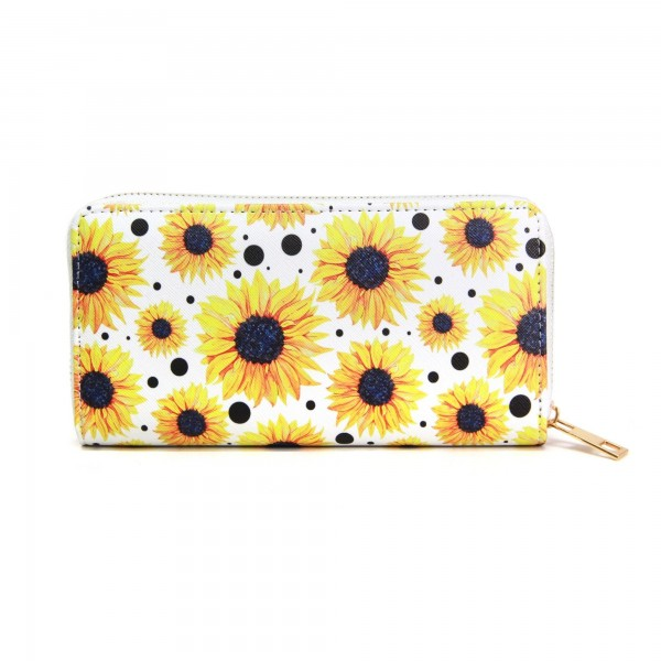 "Faux Leather Sunflower Print Long Wallet.  - Zip around Closure - Full Bill, Card and Coin Compartments - Approximately 7.5"" x 4""  - 100% PVC"