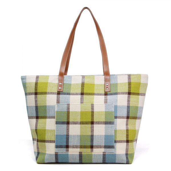 "Plaid Canvas Tote Bag.  - Zipper Closure - Open Lined Inside - 1 Inside Open Pocket - 1 Outside Open Pocket - 12"" Faux Leather Handles - Approximately 20"" x 13""  - 90% Linen / 10% PU"
