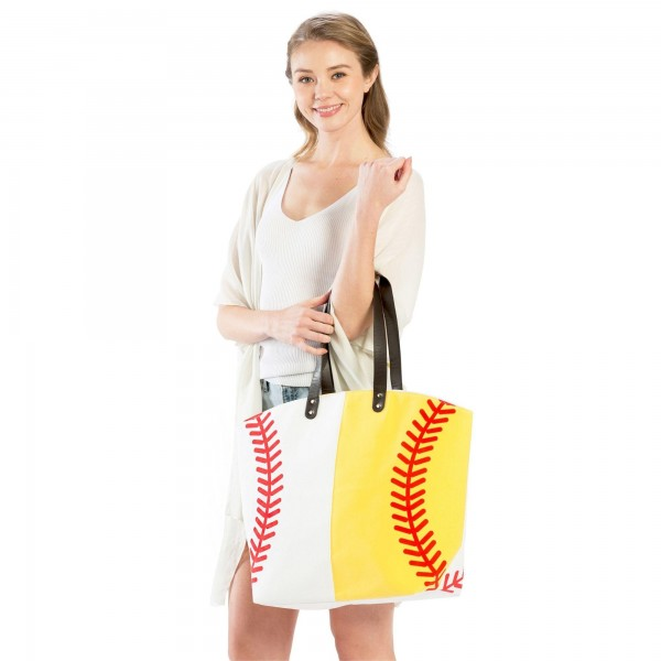 "Softball & Baseball Tote Bag.   - Perfect for Game Day & Monogramming! - Snap Button Closure - Open Lined Inside - 1 Open Inside Pocket - 10"" Faux Leather Handles - Approximately 21"" W x 16"" T - 80% Cotton, 20% Polyester"