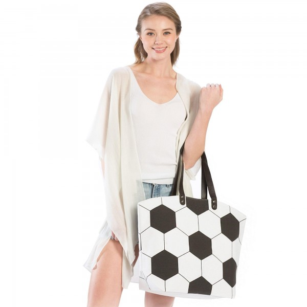 "Soccer ball Tote Bag.   - Perfect for Game Day & Monogramming! - Snap Button Closure - Open Lined Inside - 1 Open Inside Pocket - 10"" Faux Leather Handles - Approximately 21"" W x 16"" T - 80% Cotton, 20% Polyester"