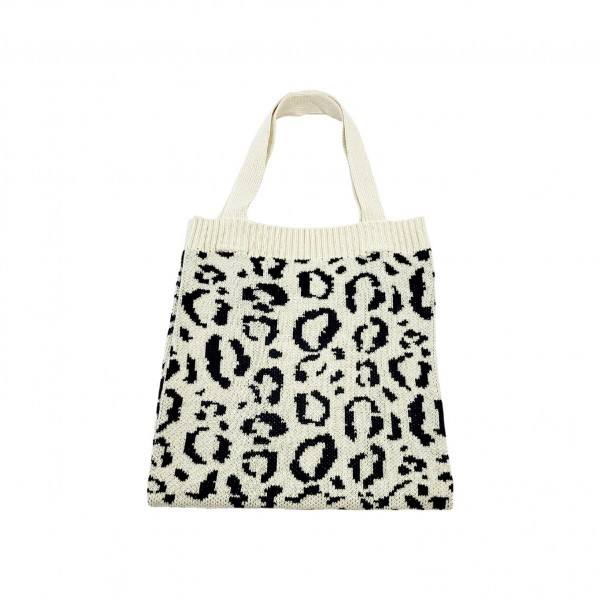 "Cheetah Print Knitted Tote Bag.   - 100% Polyester - Approximately 14"" x 14"""