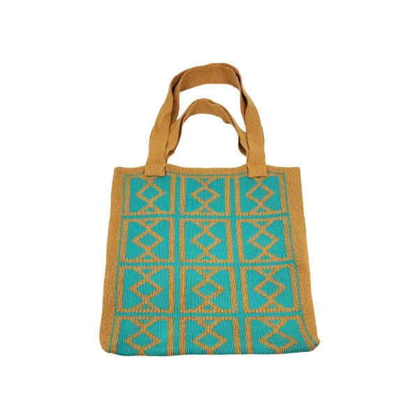 "Tribal Print Knitted Tote Bag.   - 100% Polyester  - Approximately 14"" x 14"""