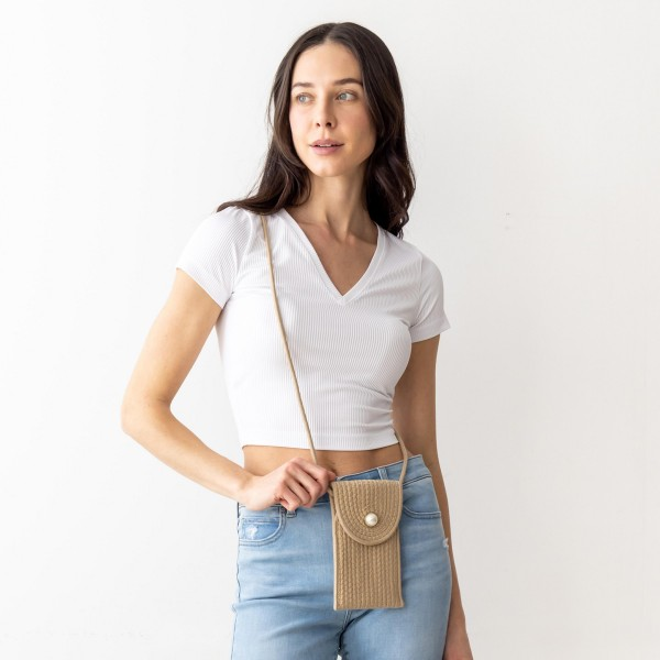"""Woven Cross Body Bag Featuring a Faux Pearl Accent.   - Snap Closure -   - Approximately 7"""" x 5"""" in size. - Detachable Gold Chain approximately 48"""" in Length   * Regularly priced items."""