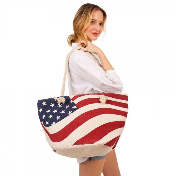 "USA Flag Tote Bag.   - Zipper Closure - Rope Handles - Inside Pocket - Approximately 21"" x 13"""