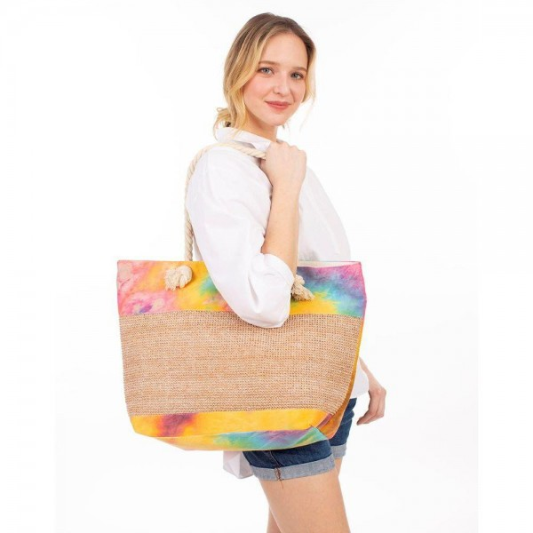 "Tie-Dye Tote Bag.   - Zipper Closure  - Rope Handles - Approximately 20"" x 14"""