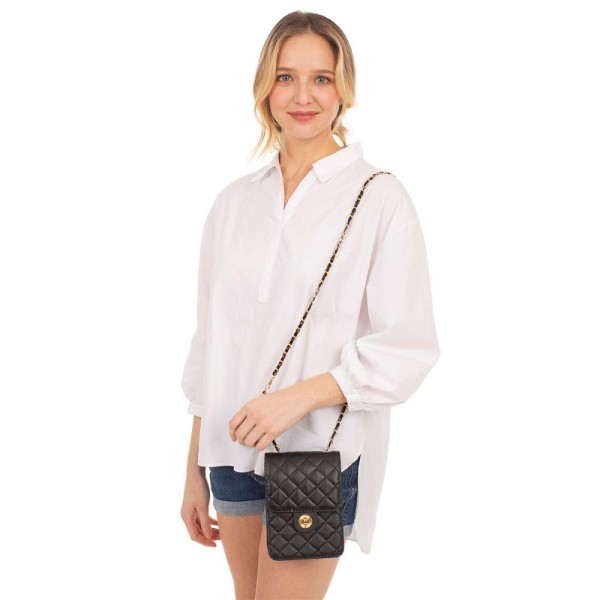 """Faux Leather Cross Body Bag Featuring Button Closure.   - Removable Chain Approximately 24"""" Long - Approximately 7"""" x 5"""""""