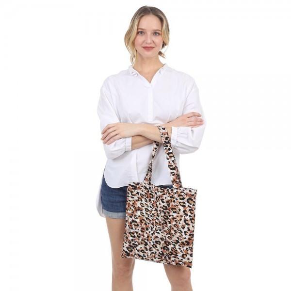 "Leopard Print Tote Bag.   - Inside Pocket - Approximately 14"" x 13"""